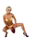 比基尼泳装白肤金发的橄榄球 免版税库存图片