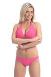 比基尼泳装白肤金发的粉红色 图库摄影