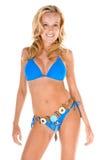 比基尼泳装白肤金发的蓝色妇女 免版税库存照片