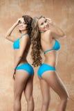 比基尼泳装的两名妇女 免版税图库摄影