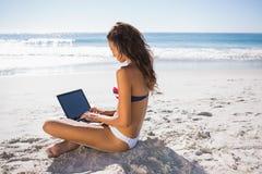 比基尼泳装的可爱的妇女键入在她的计算机上的 库存图片