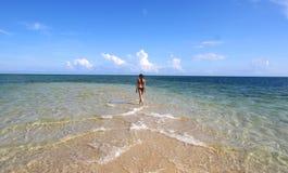 黑比基尼泳装的女孩走在白色海滩的 免版税图库摄影