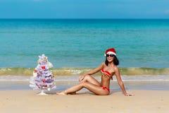 比基尼泳装的性感的女孩圣诞老人在海滩冷杉木 免版税库存照片