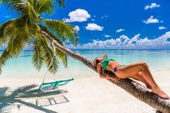比基尼泳装的性感的妇女在海背景的棕榈树下在马尔代夫 图库摄影