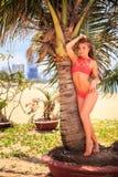 比基尼泳装的白肤金发的女孩在脚尖倾斜在棕榈树干接触头发 免版税库存照片