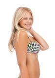 比基尼泳装的美丽的妇女 图库摄影