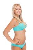比基尼泳装的美丽的妇女 免版税图库摄影