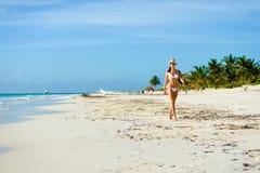 比基尼泳装的被晒黑的可爱的妇女在热带自然海滩 库存图片