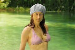 比基尼泳装盐水湖 库存照片