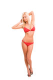 比基尼泳装红色性感的妇女 免版税库存照片