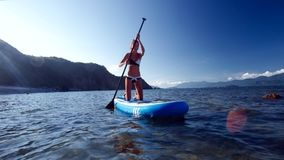 比基尼泳装行的亭亭玉立的女孩在开放海洋的明轮轮叶 影视素材