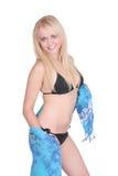 比基尼泳装金发碧眼的女人 免版税库存图片