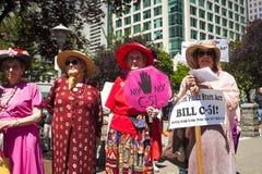 比尔C-51 (反恐怖主义行动)抗议在温哥华 库存图片
