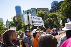 比尔C-51 (反恐怖主义行动)抗议在温哥华 免版税图库摄影