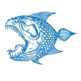 比拉鱼鱼外形、开放嘴与锋利的牙齿和长舌,滑稽的手拉的乱画剪影在流行艺术样式 库存例证