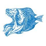 比拉鱼鱼外形、开放嘴与锋利的牙齿和长舌,滑稽的手拉的乱画剪影 库存例证
