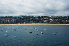 比斯开湾海湾海岸的,西班牙圣塞瓦斯蒂安Donostia 库存照片