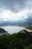 比斯开湾海湾海岸的,西班牙圣塞瓦斯蒂安Donostia 库存图片