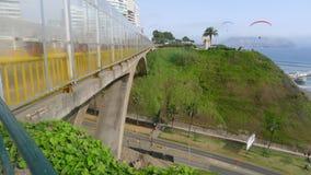 比耶纳桥梁在利马米拉弗洛雷斯区  免版税库存图片