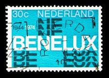 比荷卢三国标志, serie,大约1974年 免版税库存照片