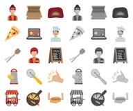 比萨和比萨店动画片,在集合收藏的单音象的设计 职员和设备传染媒介标志股票网 皇族释放例证