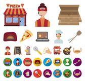 比萨和比萨店动画片,在集合收藏的平的象的设计 职员和设备传染媒介标志股票网 向量例证