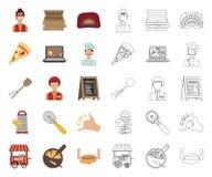 比萨和比萨店动画片,在集合收藏的概述象的设计 职员和设备传染媒介标志股票网 皇族释放例证