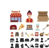 比萨和比萨店动画片,在集合收藏的黑象的设计 职员和设备传染媒介标志股票网 皇族释放例证