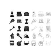 比萨和比萨店黑色,在集合收藏的概述象的设计 职员和设备传染媒介标志股票网 向量例证