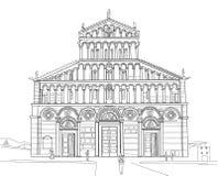 比萨大教堂剪影  库存照片