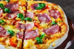 比萨用无盐干酪乳酪、火腿、胡椒、肉、西红柿酱、香料和新鲜的蓬蒿 在木的意大利薄饼 库存图片