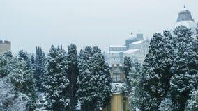 比萨鸟瞰图有雪的,奇迹正方形  库存图片