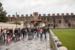 比萨,意大利城市墙壁  库存照片