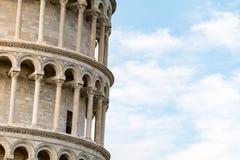 比萨,托斯卡纳,意大利著名斜塔的细节  免版税库存照片