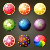 比赛三比赛的圆的糖果 库存图片