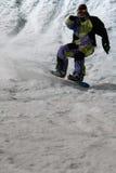 比赛上涨夜的雪板 库存图片