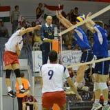 比赛匈牙利拉脱维亚排球 免版税库存图片