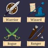 比赛字符,类模板  战士,巫术师,歹徒,别动队员 主要角色类 选择您的类 也corel凹道例证向量 库存例证