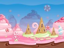 比赛幻想风景 与可口点心食物糖果焦糖巧克力饼干传染媒介的无缝的背景 向量例证
