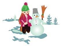 比赛是有雪人的乐趣女孩 库存照片