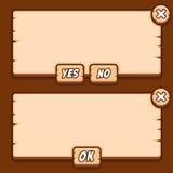 比赛木菜单接口镶板按钮 免版税库存照片