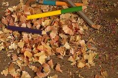 比赛浅被上色刮的铅笔 免版税库存图片