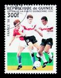 比赛片刻,世界杯足球赛1998年-法国serie,大约1997年 库存照片