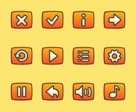 比赛的橙色按钮 免版税库存图片