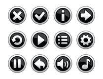 比赛的黑白按钮 免版税库存图片
