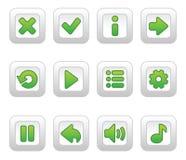 比赛的绿色按钮 图库摄影