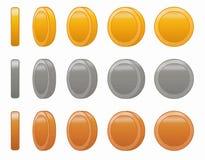 比赛硬币动画集合传染媒介例证 免版税库存图片