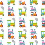 比赛礼物孩子火车无缝的样式背景传染媒介旅行铁路运输玩具机车例证 库存图片