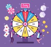 比赛轮子概念 打与时运轮子和抽奖的人们风险比赛 赌博娱乐场和赌博的传染媒介背景 皇族释放例证