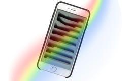 比赛-对生命周期的面孔在iPhone 库存图片